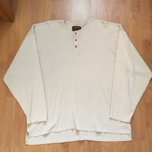 Vtg Eddie Bauer Distressed Button Thermal XXL